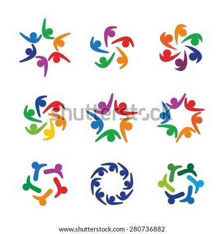 community social relation network logo icon template on vector - stock vector