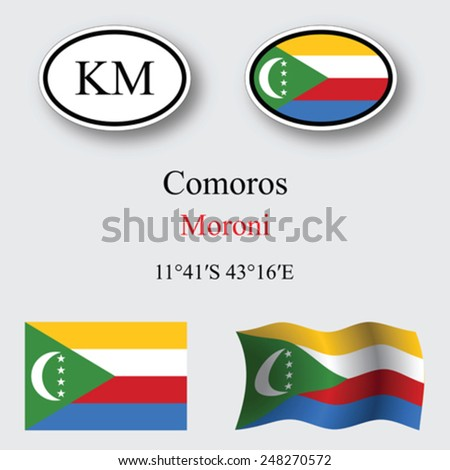 Comoros icons set against gray background, abstract vector art illustration, image contains transparency