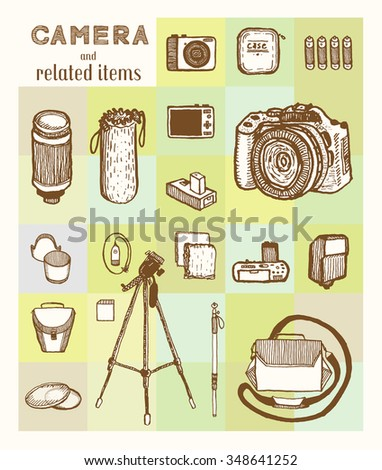 Compact and DSLR digital camera and related items. Vintage style, hand drawn pen and ink.  Vector clip art set for flyer, business card of electronics shop or camera store. Retro design element - stock vector
