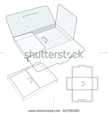 Compact and Thin Box Accessories Cardboard Box - stock vector