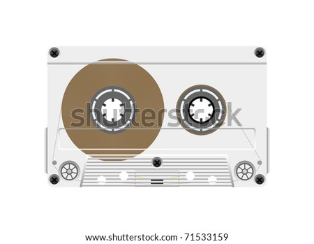 Compact cassette tape on a white background is shown in the picture