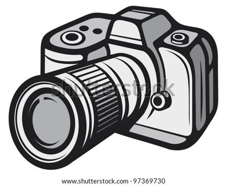 Compact digital camera (digital photo camera) - stock vector