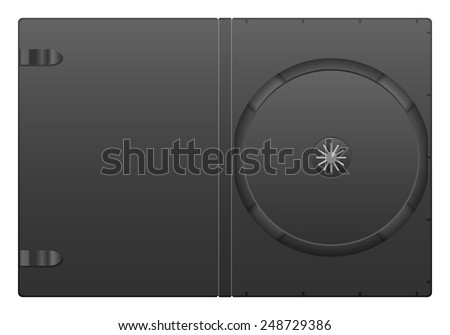 Compact disc case on a white background. - stock vector