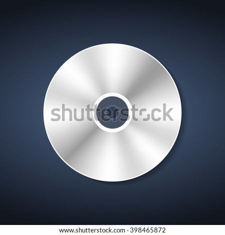 Compact  disc in realistic style with shadow - stock vector