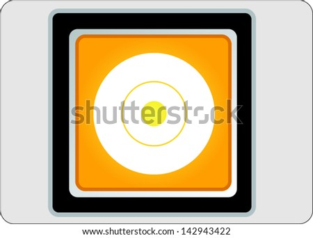 compact disc yellow square web icon on grey background - stock vector