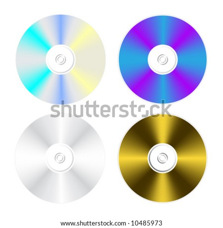 Compact disk isolated on white - stock vector