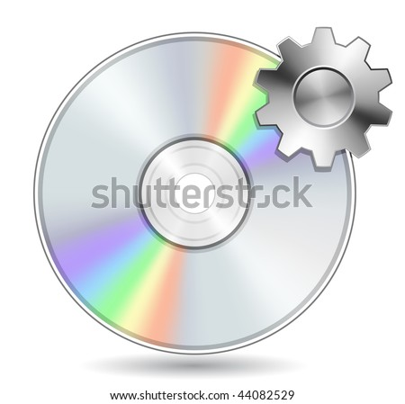 Compact Disk with Gear. Vector illustration of Optical Compact Disk. DVD, CD, Blue-Ray Disk. - stock vector
