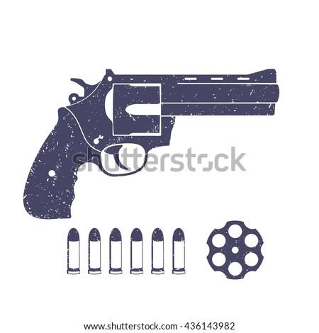 compact revolver, handgun, cylinder of revolver, cartridge, bullets, gun isolated on white, vector illustration - stock vector