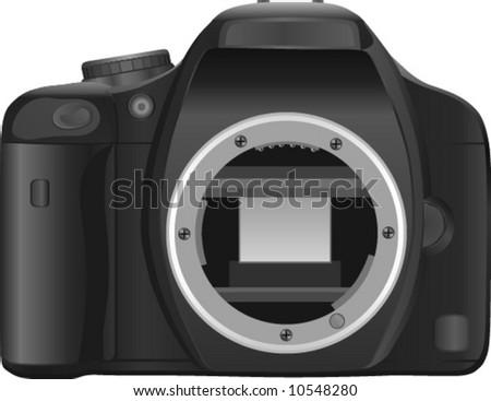 compact semi-professional digital SLR (DSLR) camera - stock vector