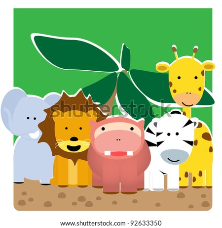 companionship of animals in the wild - stock vector