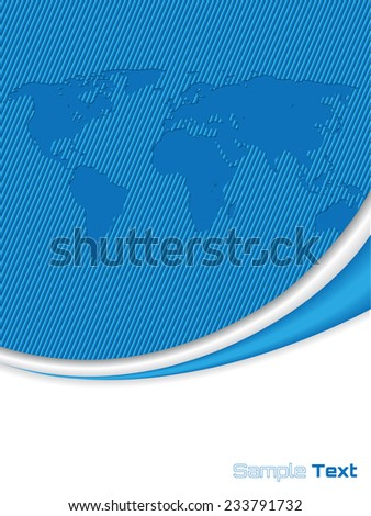 Company brochure design with striped world map - stock vector
