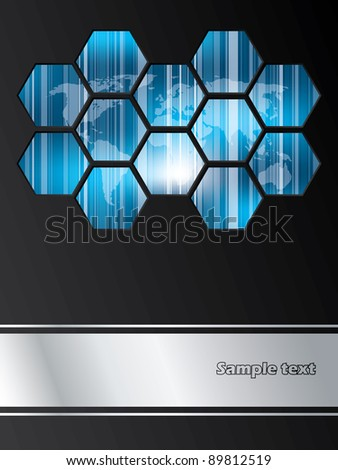 Company brochure design with striped world map covered with hexagons - stock vector
