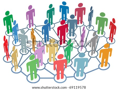 Company club or other group of many people talk on a busy social media network
