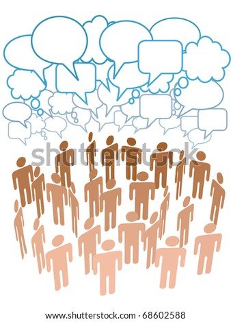 Company club or other group of people talk under a cloud of social media copy space speech bubbles - stock vector