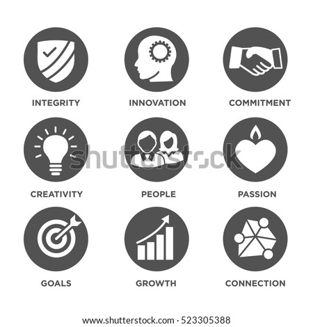 Company Core Values Solid Icons Websites Stock Vector Royalty Free