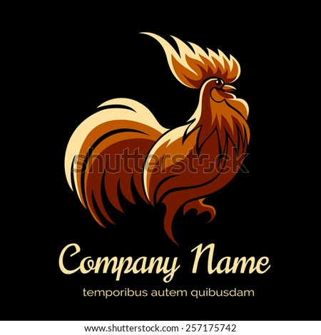 Company logo template with fire cock. Bird and animal. Vector illustration - stock vector