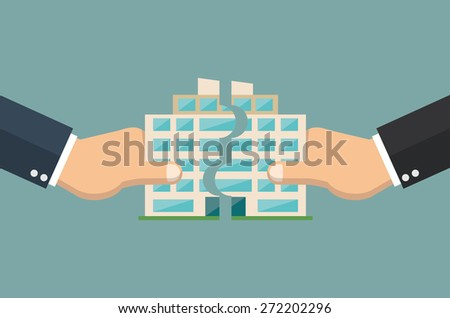 Company merger concept - Hands putting company building together - stock vector