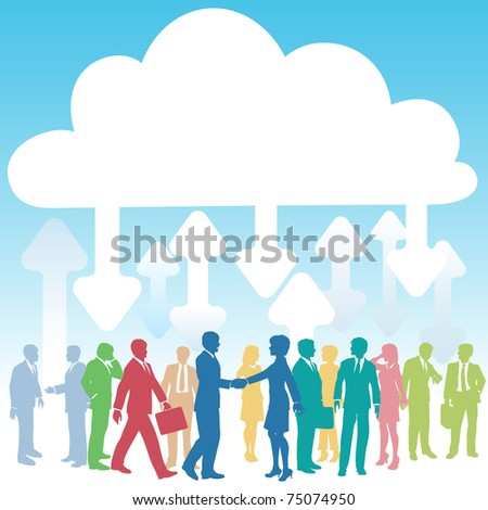 Company people doing business in IT cloud computing environment - stock vector