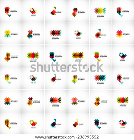 Company vector logo branding design elements. Set of abstract shaped vector symbols. - stock vector