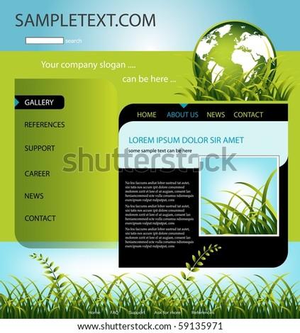 Company website template, vector - stock vector