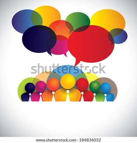 company white collar employees, multi racial executives - concept vector. The graphic also shows people conference, social media network, company management & board members, colorful diverse staff - stock vector