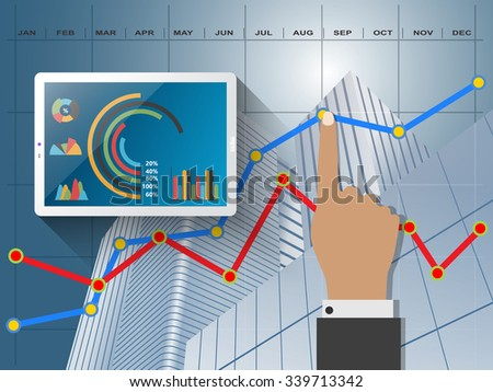 Comparing statistics in business,  info graphics report charts - stock vector