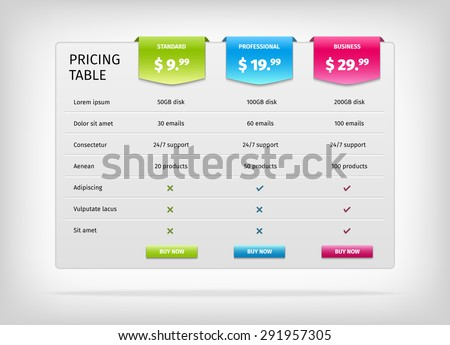 Comparison services web pricing table template stock vector comparison of services web pricing table template for business plan vector eps10 illustration pronofoot35fo Image collections