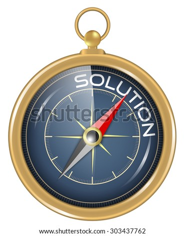 Compass and an arrow pointing to the word solution