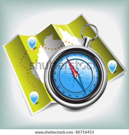 compass and map vector - stock vector