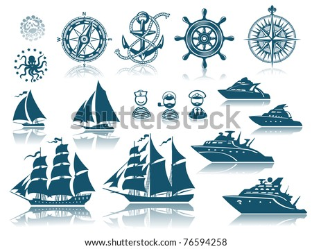 Compass and Sailing ships icon set - stock vector