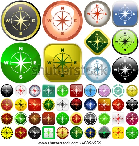Compass buttons. Graphic elements set. - stock vector