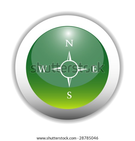 Compass - Direction Sign Button - stock vector