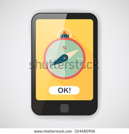 compass flat icon with long shadow - stock vector