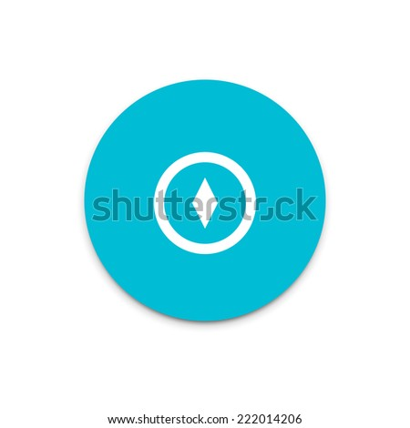 Compass icon. Flat icon on colorful floating ui action button.  - stock vector