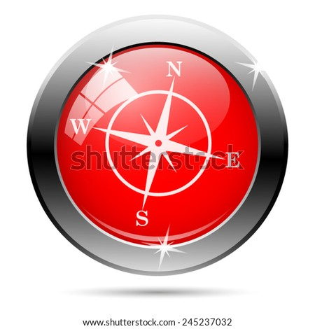 Compass icon. Internet button on white background.  - stock vector
