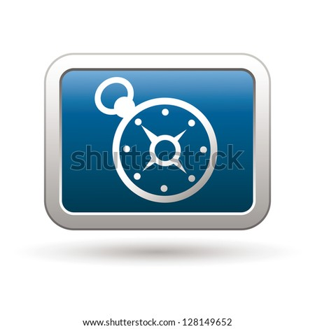 Compass icon on the blue with silver rectangular button. Vector illustration - stock vector