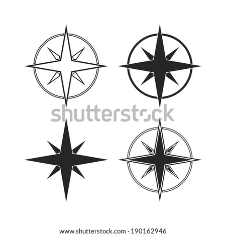 Compass icons isolated on white background. Vector illustration - stock vector