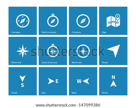 Compass icons on blue background. Vector illustration. - stock vector