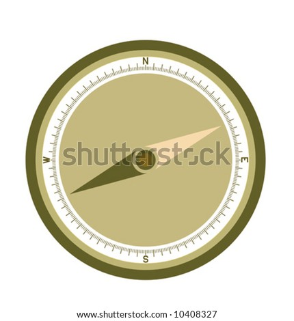 compass illustration with needles and letters in the brown colors - stock vector