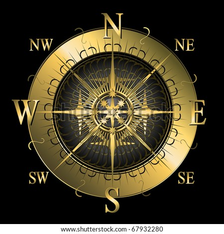 Compass in golden colors - stock vector