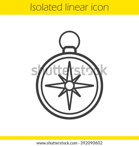 Compass linear icon. Pocket compass thin line illustration. Navigation and orientation instrument. Contour symbol. Compass logo concept. Vector isolated outline drawing - stock vector