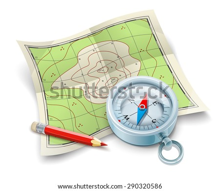 Compass map and pencil for tourism travel. Eps10 vector illustration. Isolated on white background - stock vector