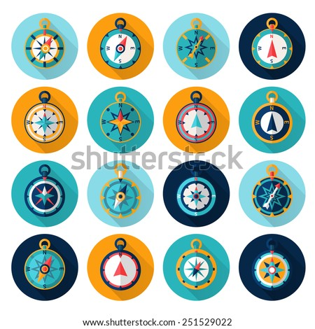 Compass marine orientation navigational instrument icon flat set isolated vector illustration - stock vector