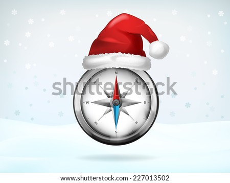 compass navigation covered with Santa cap vector illustration - stock vector