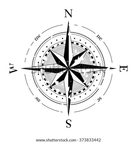 Compass navigation dial - highly detailed grunge vector illustration - stock vector