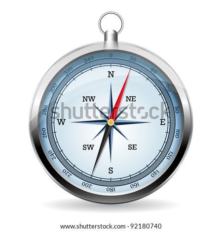 Compass on a white background, vector - stock vector