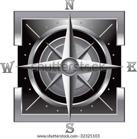 compass on silver frame