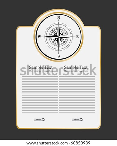 compass on template - stock vector