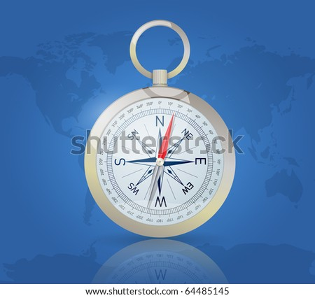 Compass on world map background - stock vector