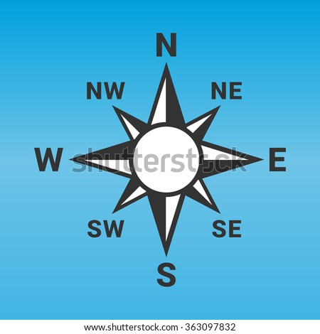 Compass rose icon in flat design. Vector illustration. - stock vector